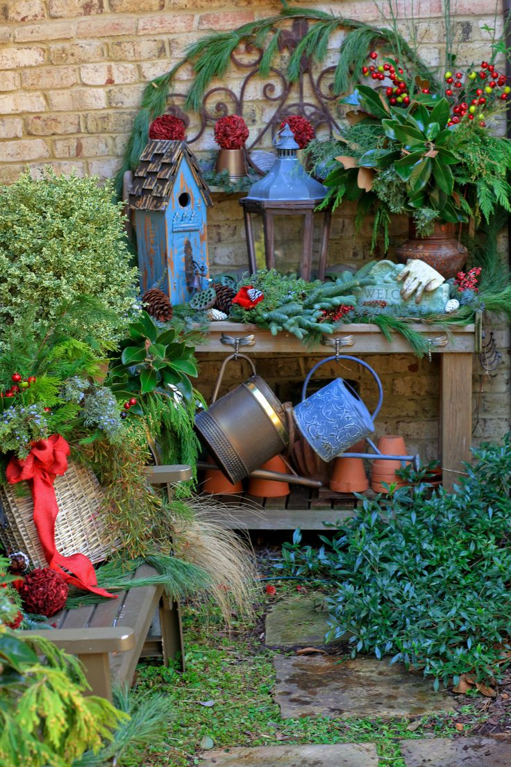 Potting Bench Decked Out For The Holidays Gardens
