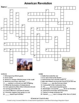 American Revolution Crossword Puzzle Worksheet My Tpt Social
