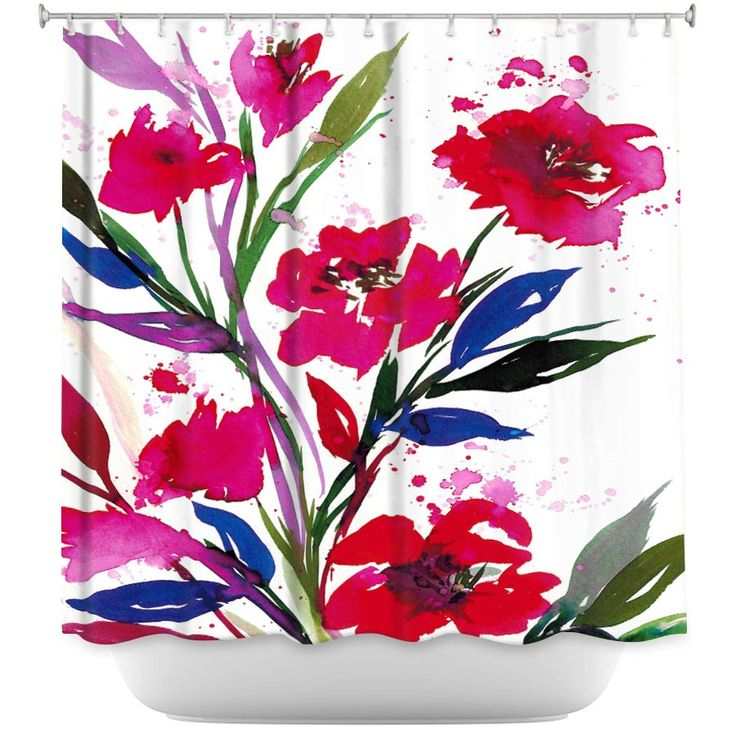 Unique Shower Curtains Julia Di Sano - Pocketful Posies Red