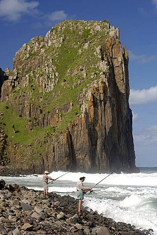 Fishermen on the wild coast near Hole in the Wall in a region of South Africa's Eastern Cape Province formerly known as the Transkei.