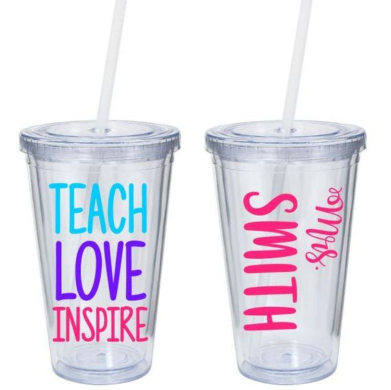 84642f3c8cf Teach Love Inspire - Personalized Teacher Tumbler - Teacher ...