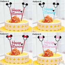 Микки минни маус торт цилиндр для детей с днем рождения ну вечеринку украшения принадлежности душа ребенка ну вечеринку украшения можно записать(China (Mainland))