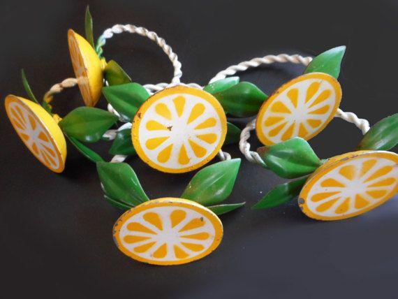 Vintage Italian Tole Lemon Slice Napkin Rings Distressed Metal