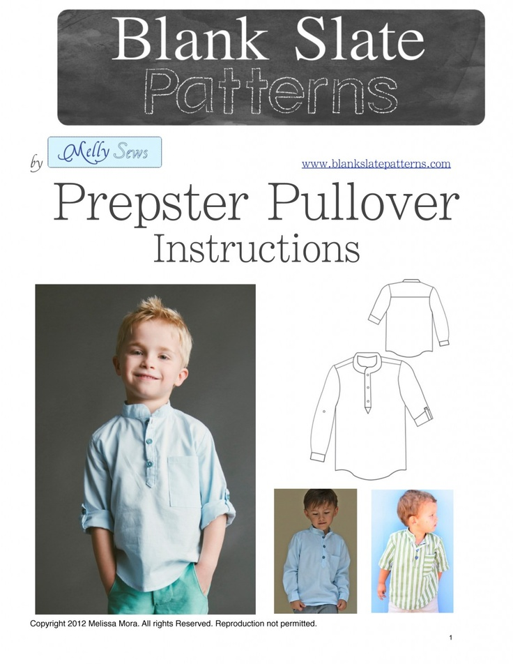 A great basic sewing pattern for boys! The Prepster Pullover PDF Sewing Pattern by Blank Slate Patterns via lilblueboo.com