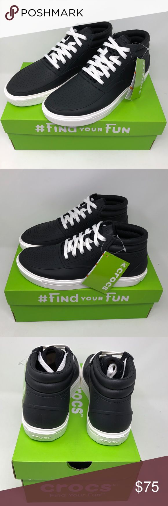 Crocs Men's Chukka Boots Roka Citilane 204686-066 Crocs  Men's  Chukka Boots  Roka Citilane  Style: 204686-066 Black with white sole  Lace up Standard Fit CROCS Shoes Chukka Boots #Men'sCrocsShoes