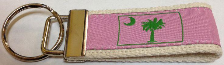 Cahoon's Closet - Web Keychain - Palmetto Moon Pink/Green.    CahoonsCloset.com #CahoonsCloset #ColimbiaSC #PalmettoMoon #SC #SouthCarolina