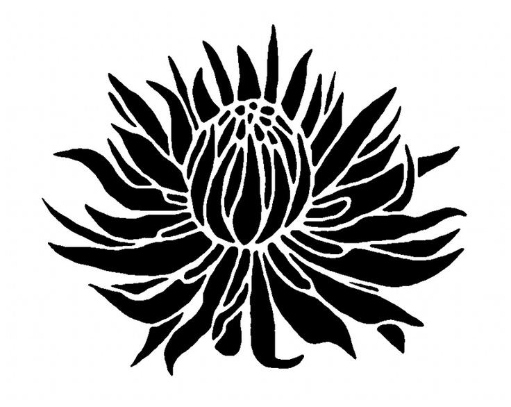 Large Flower Stencils : Protea floral stencil patterns verf structuur