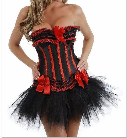 Free pp 8068Black Red satin corset busiter with padded cup underwire +G-string+Black mini skirt showgirl costume S-6XL  instyles #Affiliate