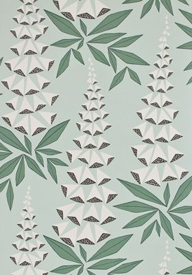 Foxglove Jade Wallpaper by MissPrint. PEFC certified and printed in the UK