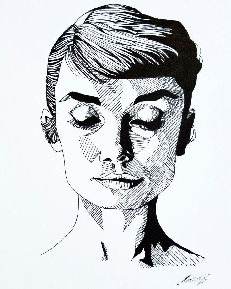 My drawing of Audrey Hepburn