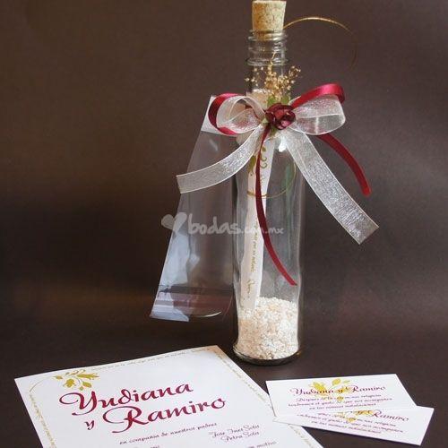 Invitaciones en botellas para casamiento. Bottles for wedding invitations