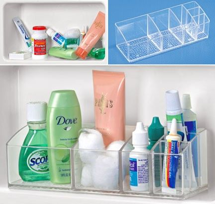 Medicine Cabinet Organizer (C2995) Medicine cabinet organizer declutters your bathroom cabinet! Caddy has 6 compartments for organizing medications, cosmetics, hair care supplies and toiletries.