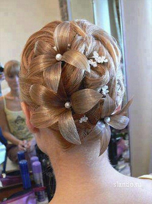 Hairsprayed Hair Flowers Updo