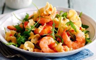 Storecupboard items + prawns... lovely low fat dinner.