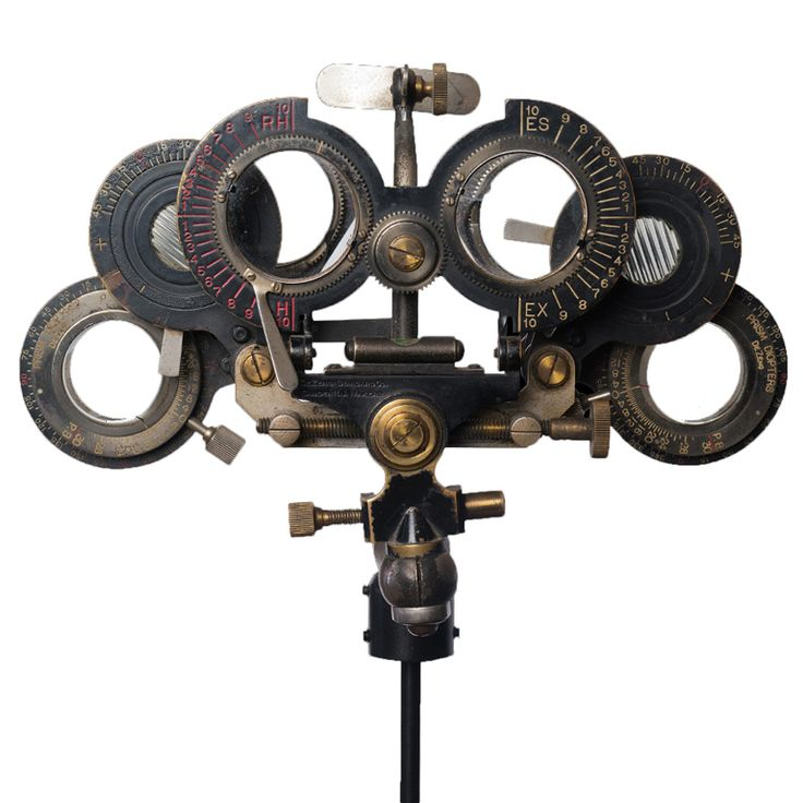 Opthamologist's Eye-Testing Device  American  circa 1890-1900  Antique Opthamologist's eye-testing device, mounted on stand.