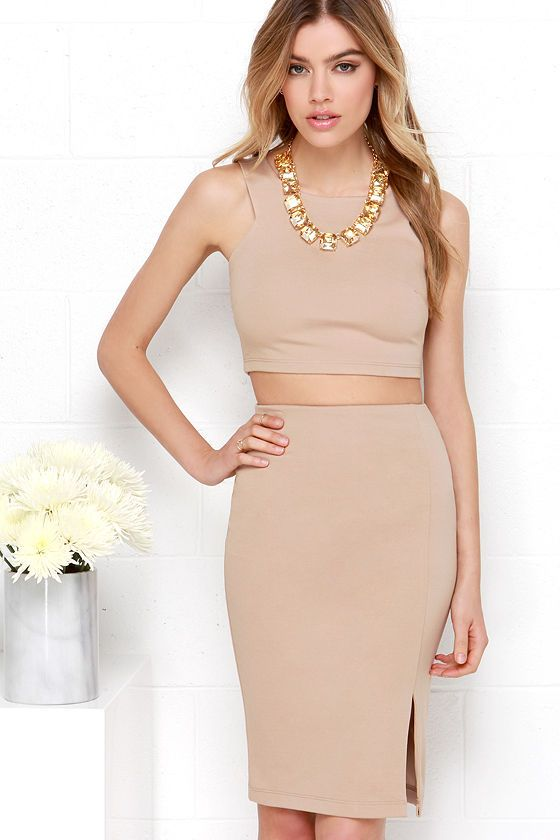 Love this Double Entendre Dark Beige Two-Piece Dress at Lulus.com!