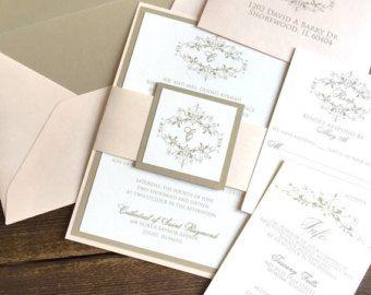 Champagne Wedding Invitations Gold & Vintage Wedding