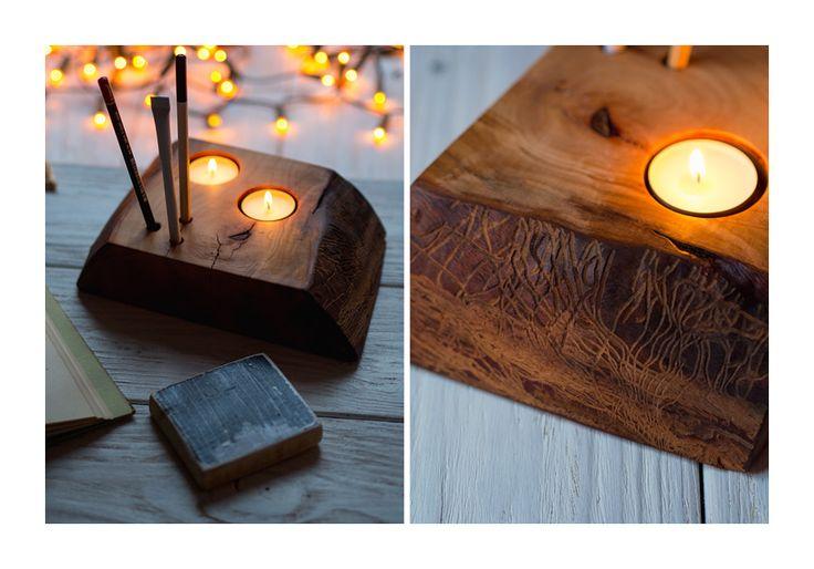 25. ORYGINALNY ŚWIECZNIK ręcznie robiony świecznik Olcha impregnowana olejem z orzechów włoskich. ROZMIAR: ok. 22 cm x 15 cm, grubość ok. 5 cm 20PLN ZAMÓW