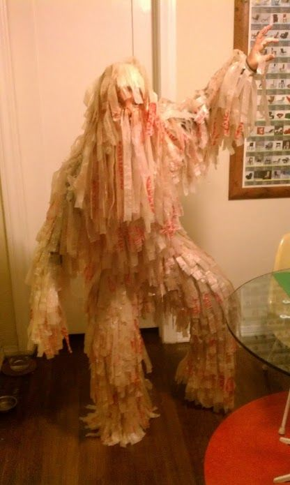 Plastic Bag Yetti - I have always coveted the ghillie suits at the army surplus store, but could never afford one. I can, however, afford free plastic grocery bags.