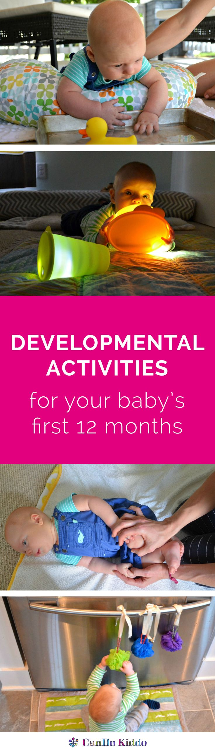 Stop scouring Pinterest - get all the baby play activities you need for baby's first year in a convenient paperback or eBook 2 book bundle. Designed by a pediatric OT to help parents better understand their babies development through play that promotes baby milestones. CanDoKiddo.com