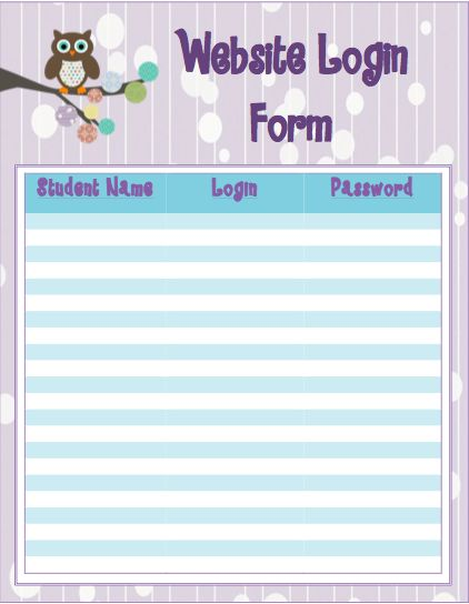 Free!  Need a cute way to keep track of your student usernames and passwords for all your different online programs?  Here is a fun way to keep them all in one place!  Just print, fill out, and post near your computer stations.  Includes 3 variations of the forms and a parent letter to send home as well.  Enjoy!