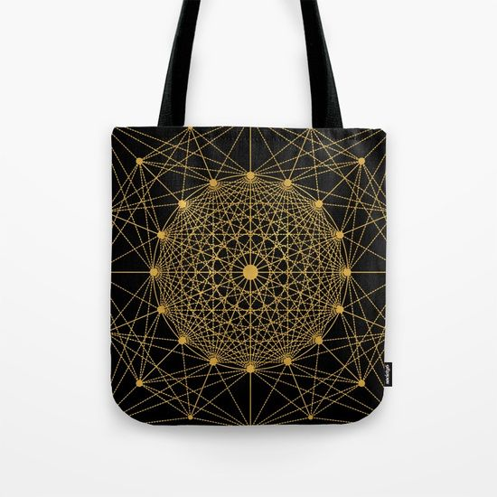 "Geometric Circle Black and Gold Tote Bag by Fimbis __________________________ #blackandgold #golden #bags #shopping #backtoschool #fashion   __________________________  Our quality crafted Tote Bags are hand sewn in America using durable, yet lightweight, poly poplin fabric. All seams and stress points are double stitched for durability. Available in 13"" x 13"", 16"" x 16"" and 18"" x 18"" variations, the tote bags are washable, feature original artwork on both sides"