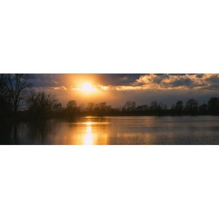 Reflection of sun in water West Memphis Arkansas USA Canvas Art - Panoramic Images (36 x 12)