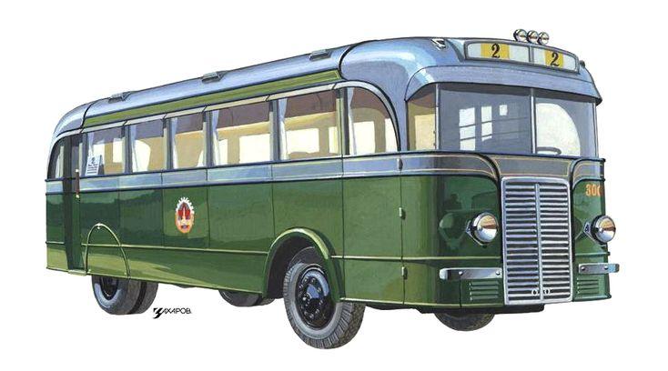 Опытный НИИГТ (Первый отечественный автобус вагонной компоновки), 1937 - Рисунок А. Захарова / Из коллекции «За рулём» 1983-8