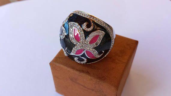 Lady bijoux uniques Cristal Noir Bague vintage papillon femmes