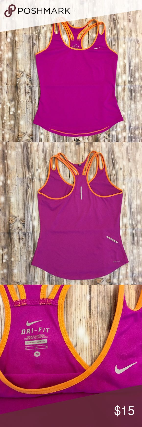 Nike dri-fit bright purple & orange tank top Dri-fit bright purple and orange racerback tank top, super soft cute and comfy, tiny hole on the back top hem but isn't noticeable at all, small pocket on right lower back, double straps on both sides, would go perfect with the bright purple Nike athletic shorts I have posted! Nike Tops Tank Tops