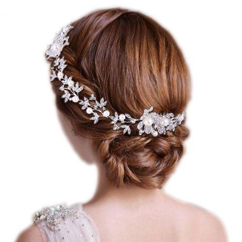 Wedding Flower Hair Pieces Headband Accessories Chain Clear Austrian Crystal #HairChain