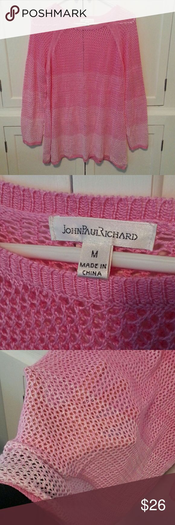 """JOHN PAUL RICHARD tunic sweater Loose knit tunic, cover-up. Bubblegum Pink . LOVE this one! Just doesn't fit.... Pit to pit 18.5"""" Shoulder to hem 26""""  EXCELLENT CONDITION!!!!! VERY SOFT! JOHN PAUL RICHARD Tops"""