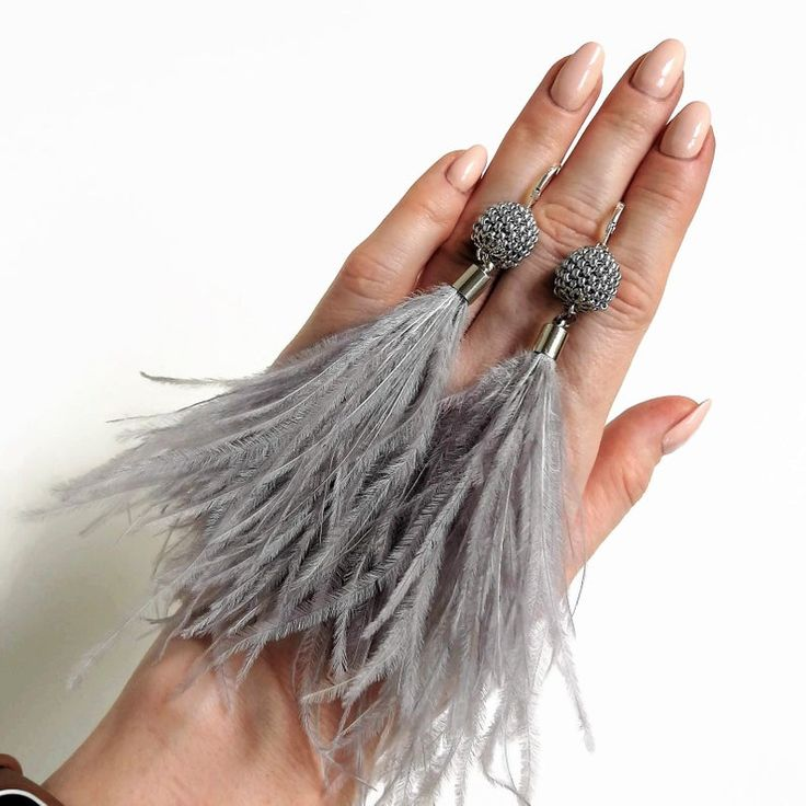 Long Gray Feather Earrings Real Ostrich Metallic Silver