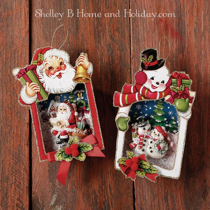 Shadow box Christmas ornaments santa and snowman