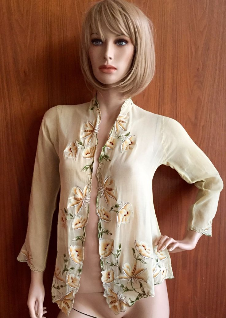 Pale Yellow Kebaya Top, authentic vintage, shall, wrap, cardigan, blouse, Indonesian, traditional, floral, embroidery, handmade by ButDaddyIWantItNow on Etsy https://www.etsy.com/listing/269423210/pale-yellow-kebaya-top-authentic-vintage