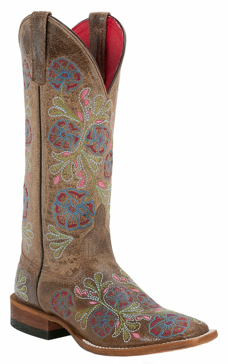 Anderson Bean Macie Bean Ladies Brown with Pastel Floral Embroidery Square Toe Boots