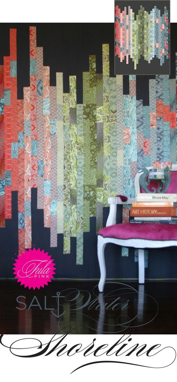 Free pattern from Tula Pink <3 Shoreline (Clever use of jelly roll?):