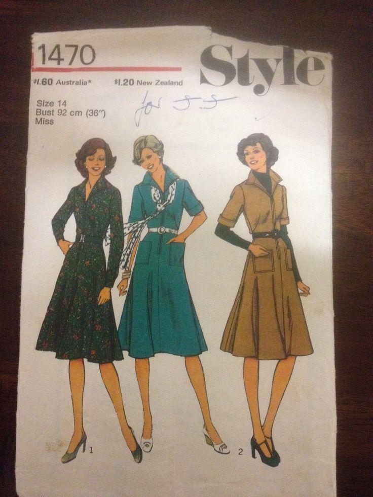Style 1470, Misses dress, Sz 14 (36), 1976