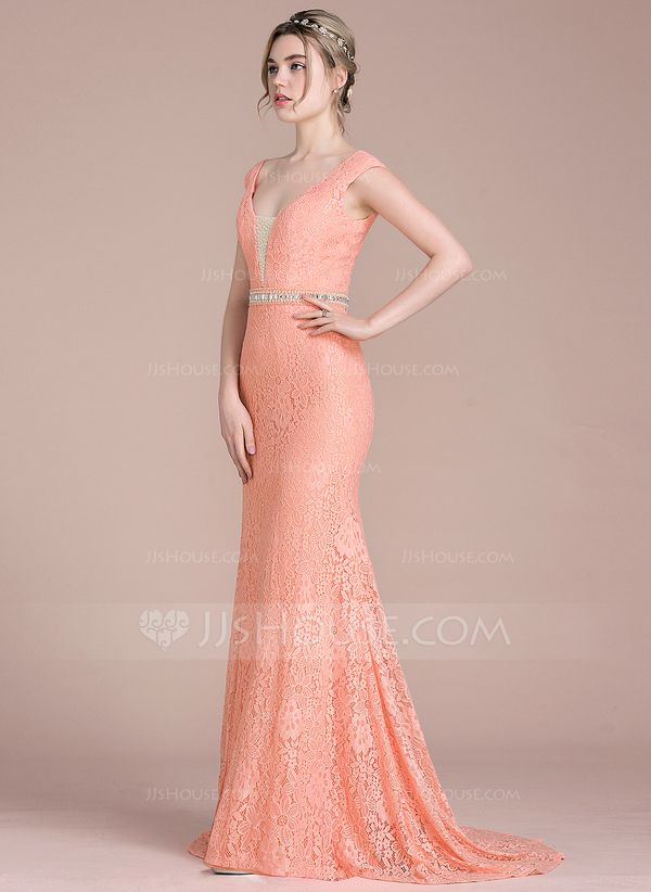 032c3b971a Trumpet Mermaid V-neck Sweep Train Lace Prom Dresses With Beading ...
