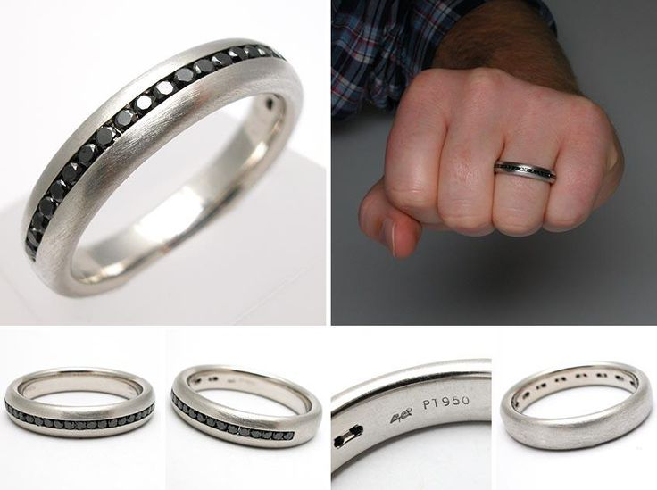 Mens Black Diamond Brushed Platinum Wedding Band Ring