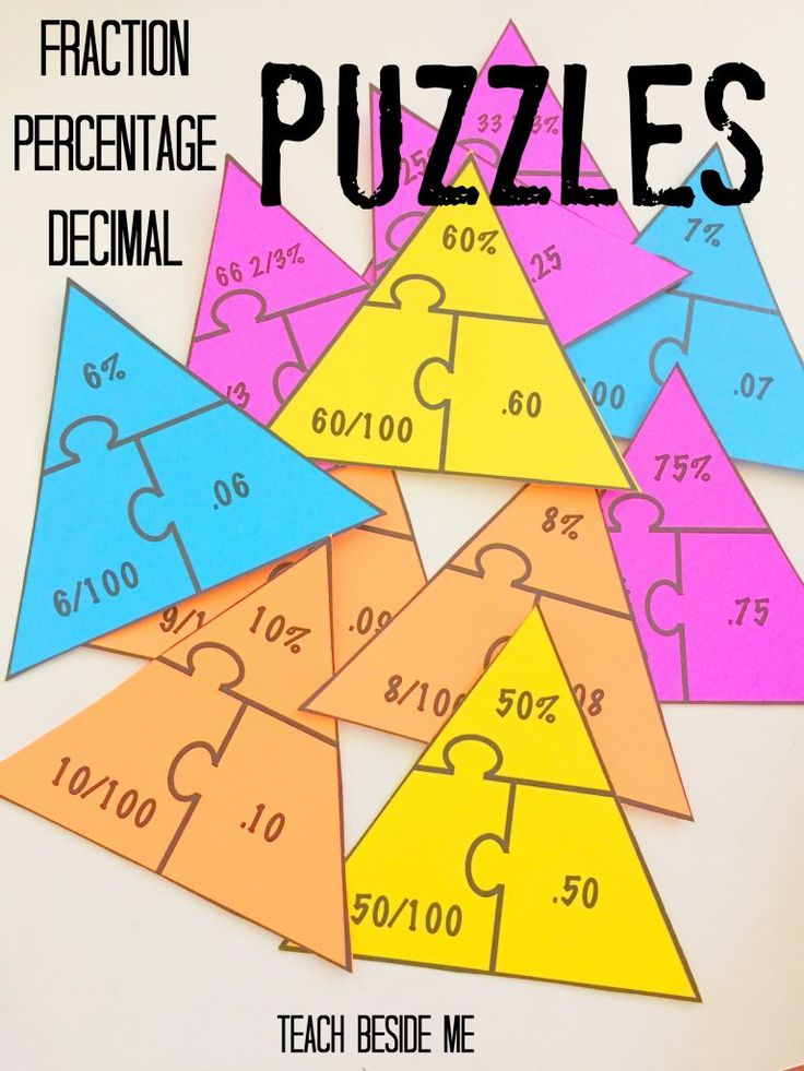 Fraction Percentage Decimal Puzzles                              …