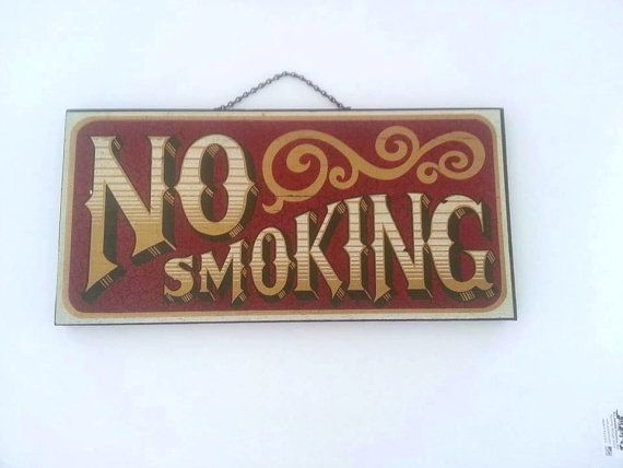 Vintage Antique Wooden No Smoking Sign Hand Painted Wall Hanging Bar Room Display