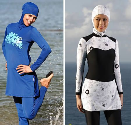 Don't really like the name, but I think it's a great idea to make swimming a fun activity that can accommodate all people and cultures! Burkini (burqa+bikini)