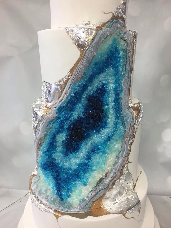 Whisk Cake Company Blue Geode Wedding Cake #geode #bluegeode #geodeweddingcake…