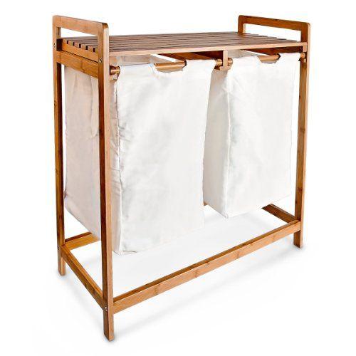relaxdays 10016332 w schesammler 2 f cher bambus w schekorb mit ablage und w sches cke relaxdays. Black Bedroom Furniture Sets. Home Design Ideas