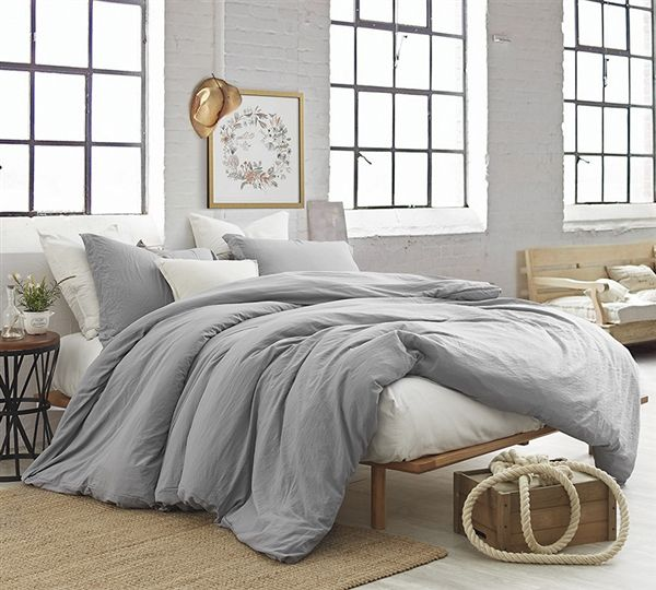 Oversized Queen Bedding Extra Thick Alloy Gray Natural Loft