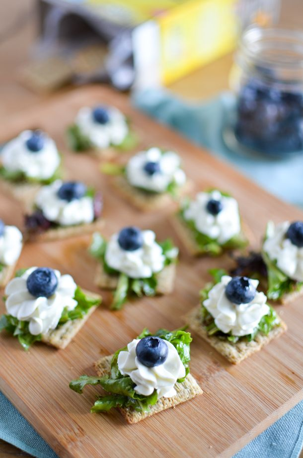Triscuit Crackers topped with Balsamic Mixed Greens, Whipped Goat Cheese & Blueberries   A Teaspoon of Happiness #TriscuitSnackoff #ad