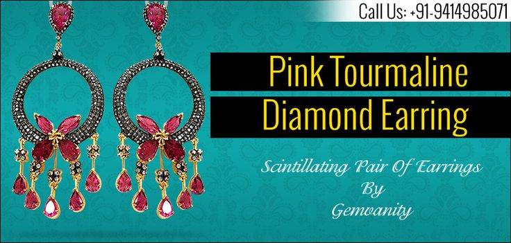 Buy Mesmerizing Pink Tourmaline Diamond Earring From Gemvanity