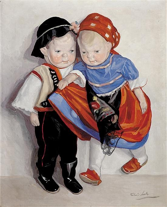 "<b>Feher Lolly</b></i> Hungarian (mid 20th century) TWO DOLLS IN COSTUME oil on canvas, framed, signed: lower right H20"" W16"""