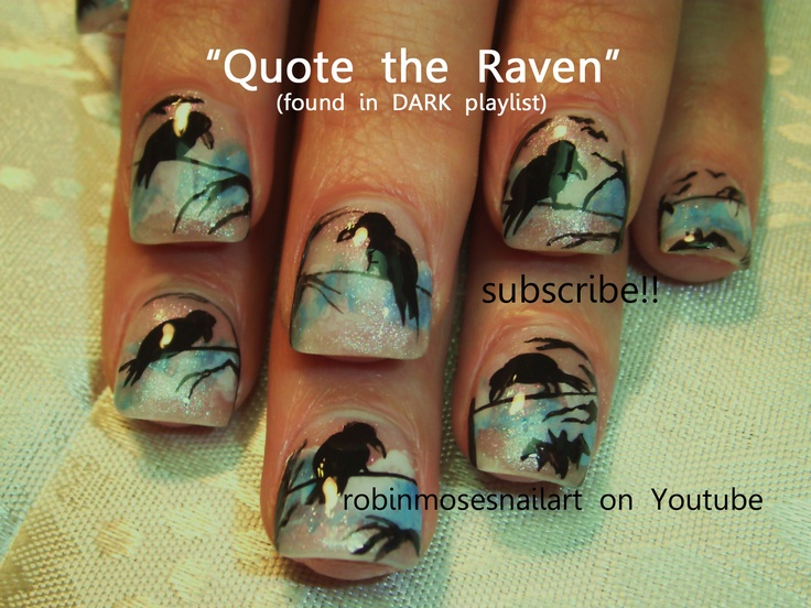 166 best halloween nail art pictures with tutorials images on nail art by robin moses ravens and bats httpyoutube prinsesfo Gallery